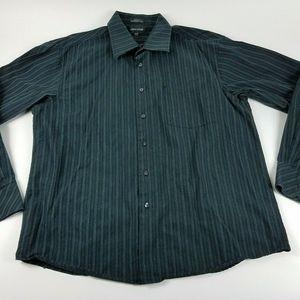 Linea Dome Mens XL 17-17 1/2 Black Striped Shirt